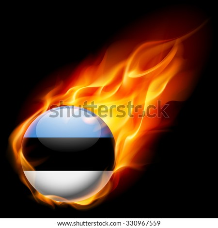 Flag of Estonia as round glossy icon burning in flame - stock vector
