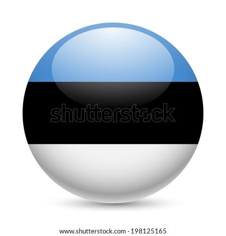 Flag of Estonia as round glossy icon. Button with Estonian flag - stock vector