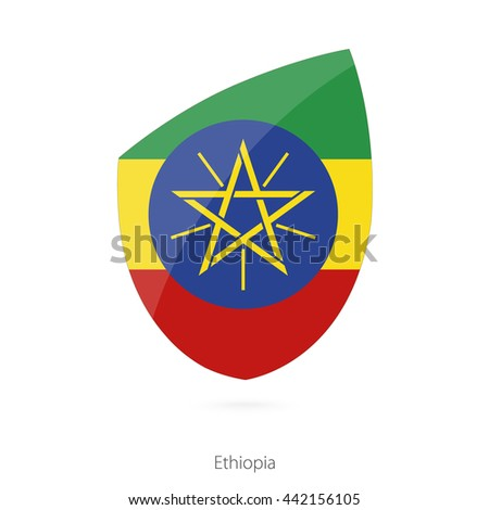 Flag of Ethiopia. Ethiopian Rugby flag. Vector Illustration.