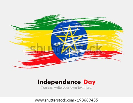 Flag of Ethiopia. Flag in grungy style. Independence Day. - stock vector