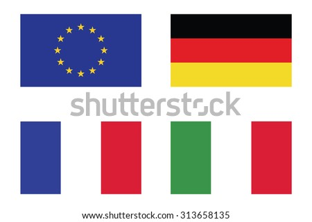 Flag of EU , German , France and Italy icon . Vector illustration - stock vector