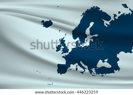 Flag of Europe. A map of Europe - stock vector