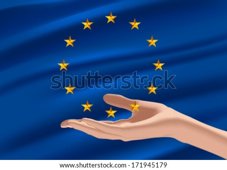 Flag of european union and hand - stock vector