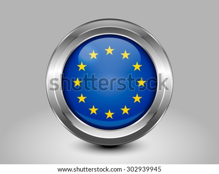 Flag of European Union. Metal Round Icons. This is File from the Collection European Flags - stock vector