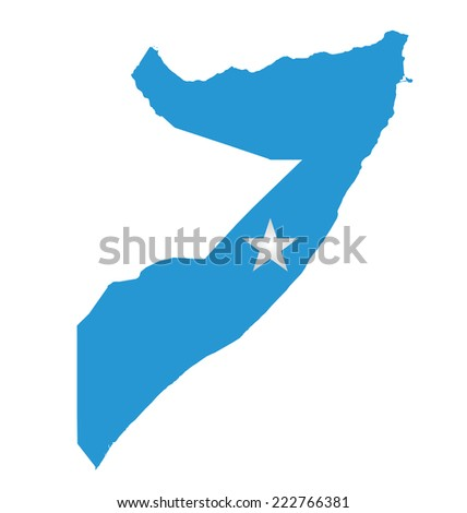 Flag of Federal Republic of Somalia overlaid on outline map isolated on white background  - stock vector