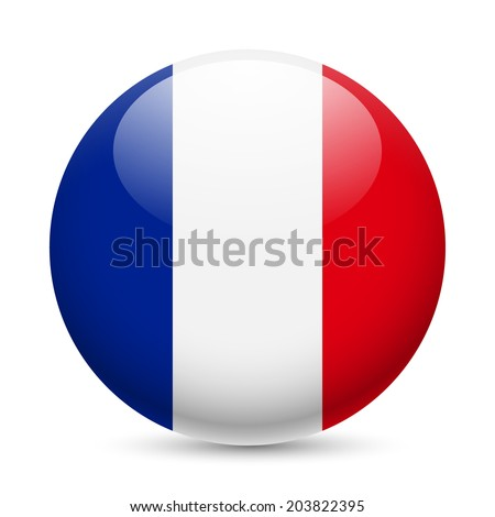 Flag of France as round glossy icon. Button with French flag - stock vector