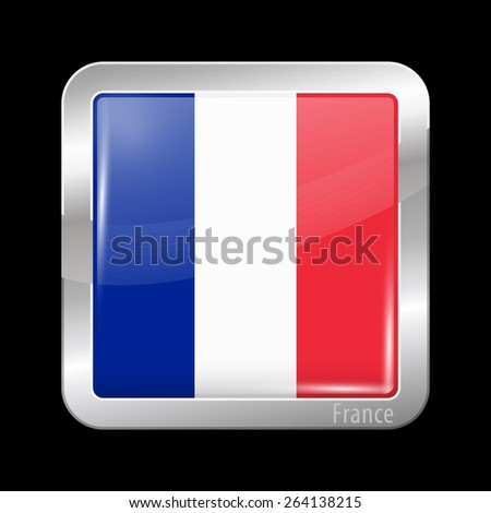 Flag of France. Metal Icons Square Shape. This is File from the Collection European Flags  - stock vector