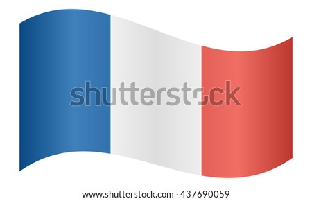 Flag of France waving on white background - stock vector