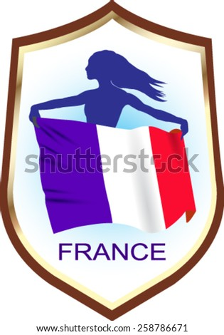 Flag of France with blazon - vector illustration. - stock vector