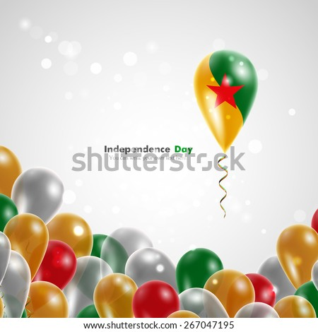 Flag of French Guiana on balloon. Celebration and gifts. Ribbon in the colors of the flag are twisted under the balloon. Independence Day. Balloons on the feast of the national day. - stock vector