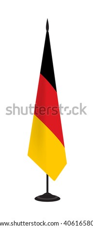 Flag of Germany on a flagstaff. Vector illustration - stock vector