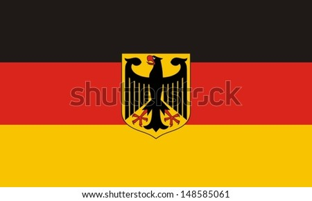 Flag of Germany with an eagle - stock vector