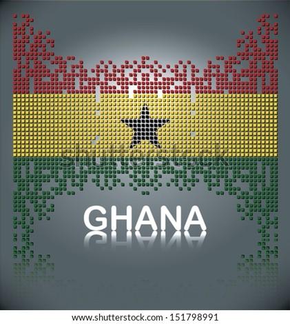 Flag of Ghana from falling square blocks, vector - stock vector