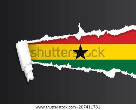 Flag of Ghana under ripped paper vector illustration. - stock vector
