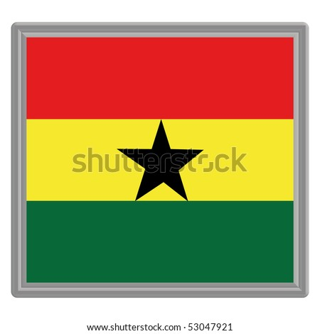 Flag of Ghana with silver frame - stock vector