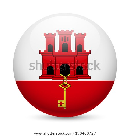 Flag of Gibraltar as round glossy icon. Button with flag design - stock vector