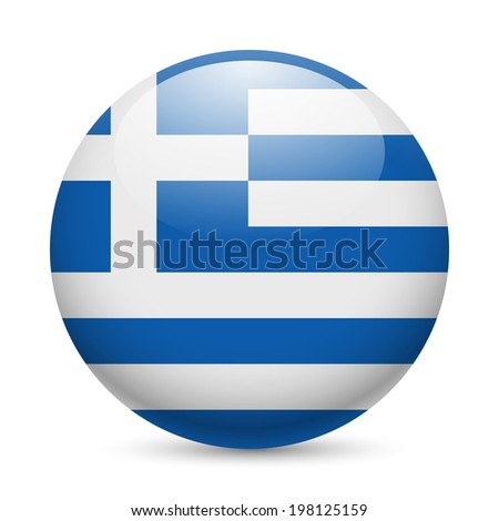 Flag of Greece as round glossy icon. Button with Greek flag - stock vector