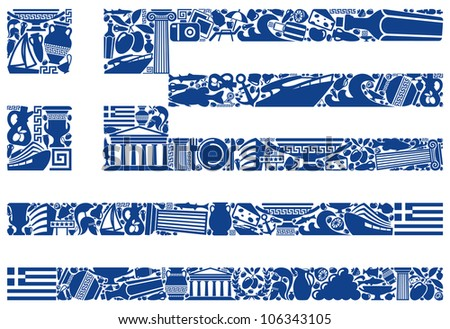 Flag of Greece from its traditional symbols - stock vector