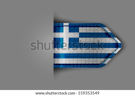 Flag of Greece in the form of a glossy textured label or bookmark. Vector illustration. - stock vector
