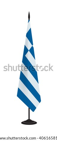 Flag of Greece on a flagstaff. Vector illustration - stock vector