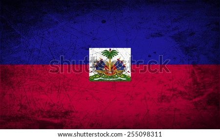 Flag of Haiti with old texture. Vector illustration