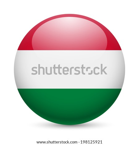 Flag of Hungary as round glossy icon. Button with Hungarian flag - stock vector