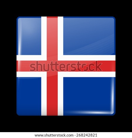 Flag of Iceland. Glossy Icons Square Shape. This is File from the Collection European Flags - stock vector