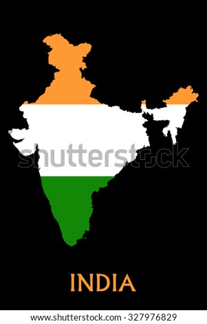 Flag of India on the map - stock vector