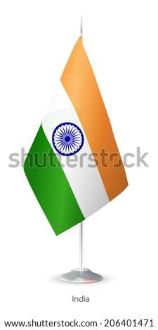 Flag of India. Vector Flagstaff. - stock vector
