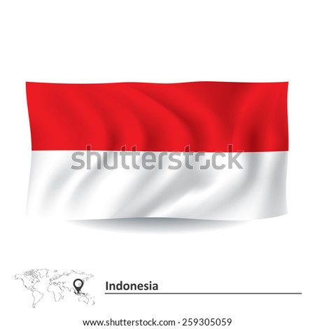 Flag of Indonesia - vector illustration - stock vector