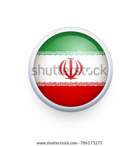 Flag of Iran as round glossy icon. Button with Iran flag. National flag for country of Iran isolated, banner vector illustration. Vector illustration eps10.