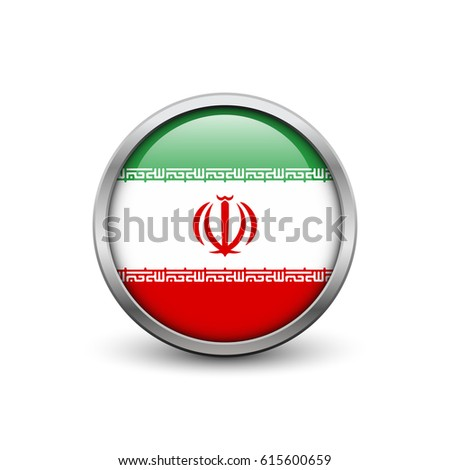 Flag of Iran, button with metal frame and shadow