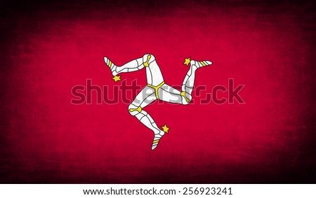 Flag of Isle of man with old texture. Vector illustration - stock vector