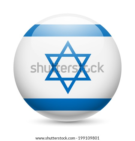 Flag of Israel as round glossy icon. Button with Israeli flag - stock vector