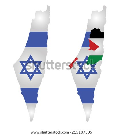 Flag of Israel overlaid on map with second map showing the disputed Palestinian territories of the West Bank and the Gaza Strip with the Palestinian flag isolated on white background - stock vector