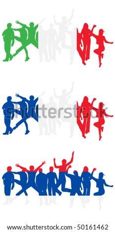 Flag of Italy,France and Serbia and people jumping
