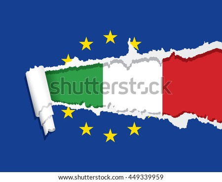 Flag of Italy under ripped flag of the European Union, vector illustration. - stock vector