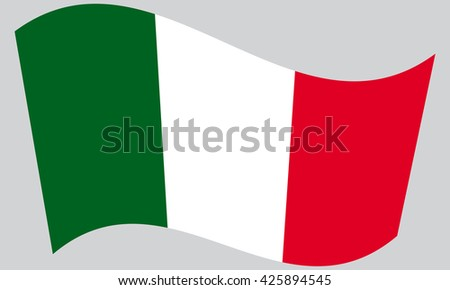 Flag of Italy waving on gray background - stock vector