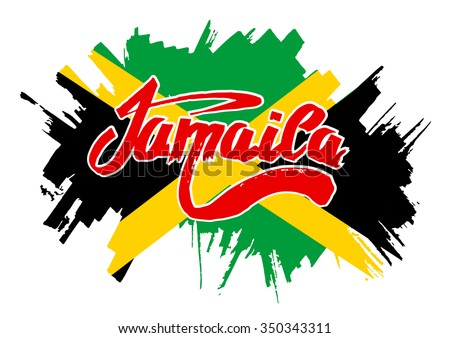Flag of Jamaica. Flag in grungy style.  - stock vector
