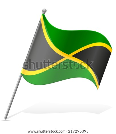 flag of Jamaica vector illustration isolated on white background - stock vector