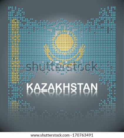 Flag of Kazakhstan from square blocks, vector - stock vector
