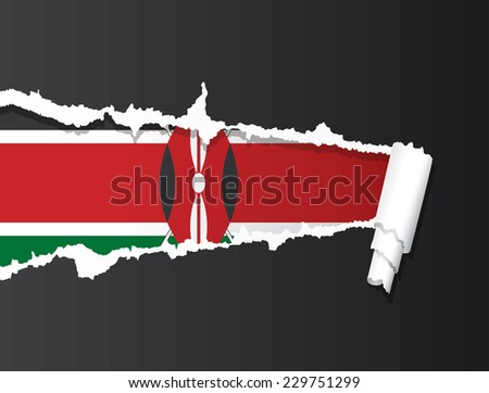 Flag of Kenya under ripped paper vector illustration. - stock vector
