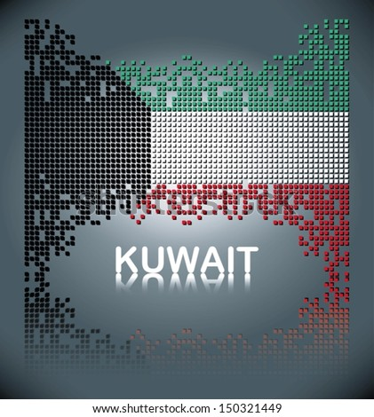 Flag of Kuwait from square blocks, vector - stock vector