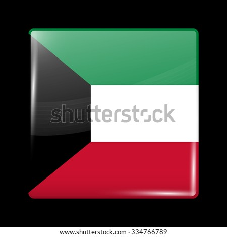 Flag of Kuwait. Glassy Icon Square Shape. This is File from the Collection Flags of Asia - stock vector