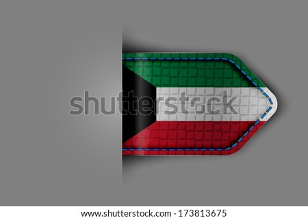 Flag of Kuwait in the form of a glossy textured label or bookmark. Vector illustration. - stock vector