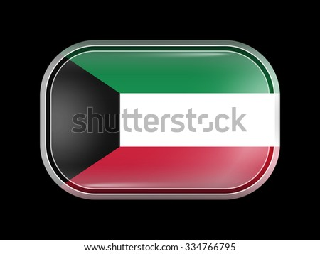 Flag of Kuwait. Rectangular Shape with Rounded Corners. This Flag is One of a Series of Glass Buttons - stock vector