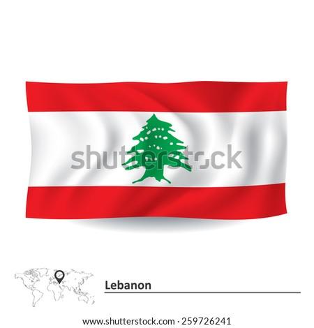 Flag of Lebanon - vector illustration - stock vector