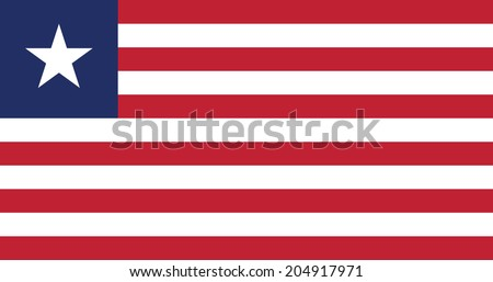 Flag of Liberia. Vector. Accurate dimensions, element proportions and colors. - stock vector