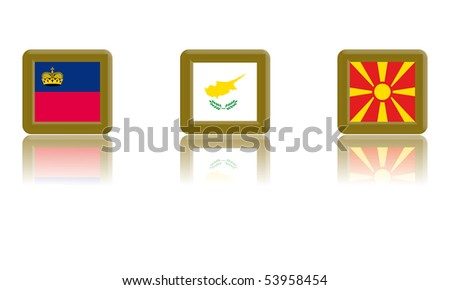 Flag of Liechtenstein, Cyprus and Macedonia with gold frame and reflection - stock vector
