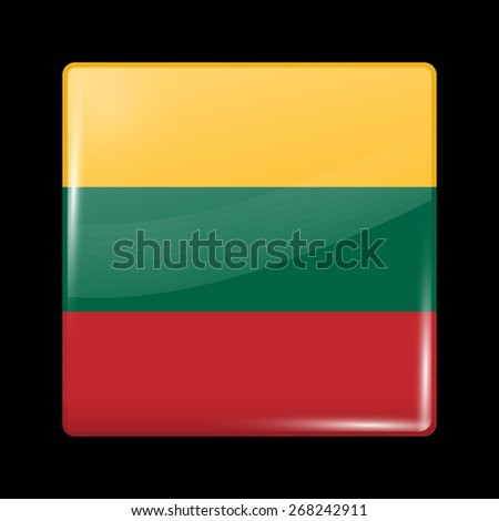 Flag of Lithuania. Glossy Icons Square Shape. This is File from the Collection European Flags - stock vector